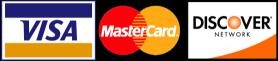 Visa, Mastercard, Discover Cards